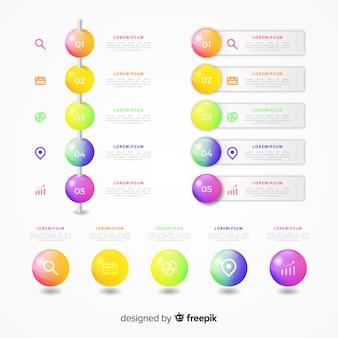 Raccolta di elementi infographic di plastica lucida realistica