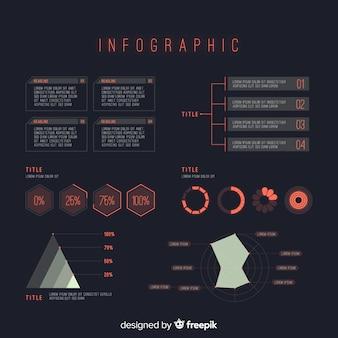 Raccolta di elementi infographic futuristici