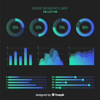 Raccolta di elementi infographic gradiente