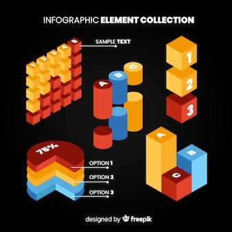 Raccolta di elementi infographic isometrica