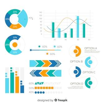 Raccolta di elementi infographic moderna con design piatto
