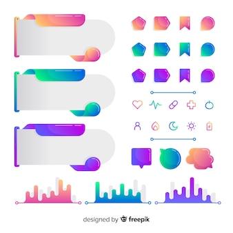 Raccolta di elementi infographic moderna con stile gradiente