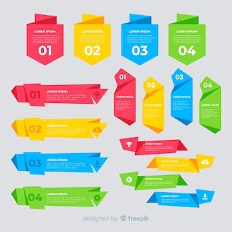 Raccolta di elementi infographic piatto colorato