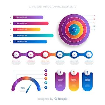 Raccolta di elementi infographic piatto gradiente