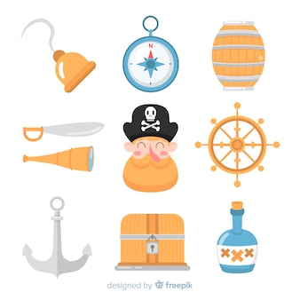 Raccolta di elementi marini piatti