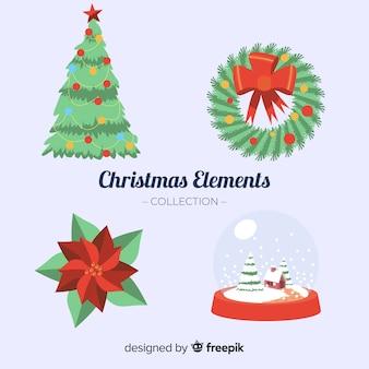Raccolta di elementi natalizi