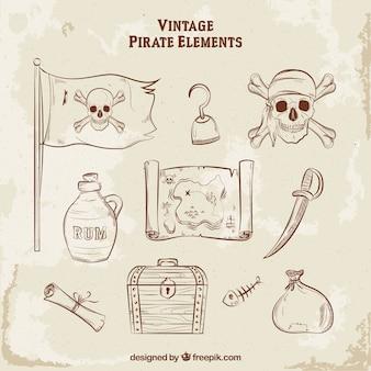 Raccolta di elementi pirata disegnati a mano