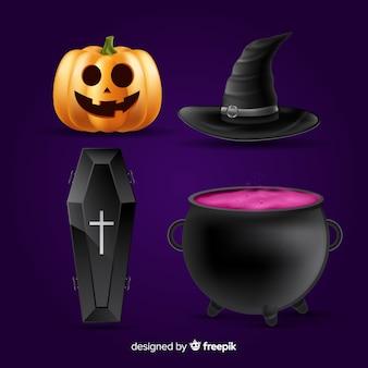 Raccolta di elementi realistici di halloween
