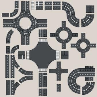 Raccolta di elementi stradali per creare una mappa stradale