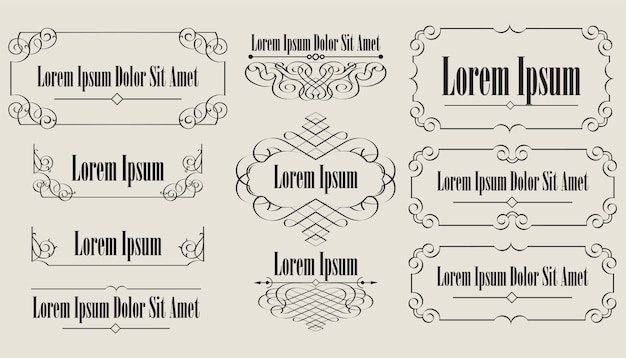 Raccolta di elementi vintage calligrafici