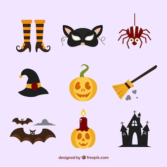 Raccolta di elemento halloween in design piatto