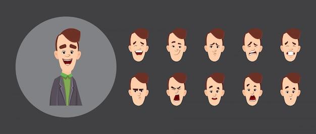 Raccolta di emozioni avatar piatto impiegato per l'animazione.