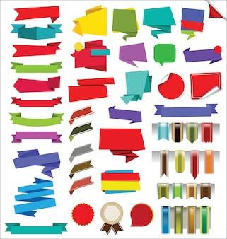 Raccolta di etichette adesive banner e tag disegno vettoriale