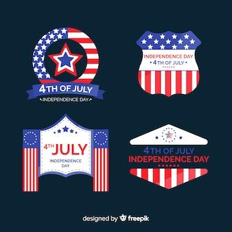 Raccolta di etichette del quarto luglio