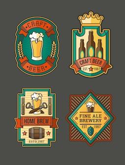 Raccolta di etichette di birra retrò, adesivi