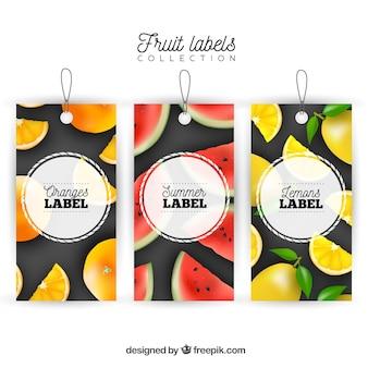 Raccolta di etichette di frutta acida