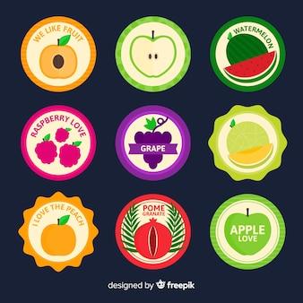 Raccolta di etichette di frutta