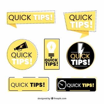 Raccolta di etichette di suggerimenti colorati con design piatto
