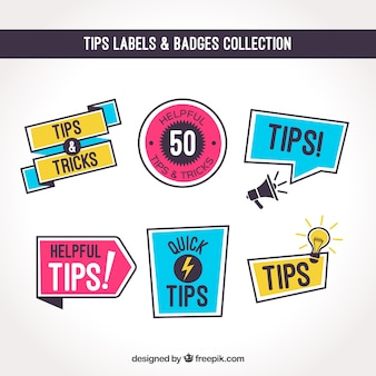 Raccolta di etichette di suggerimenti con design piatto