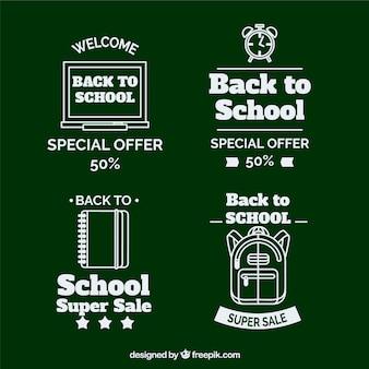 Raccolta di etichette di vendita di ritorno a scuola