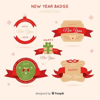 Raccolta di etichette e distintivi del 2019 del nuovo anno