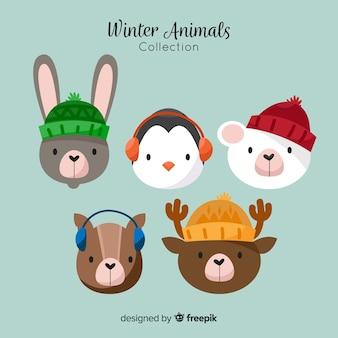 Raccolta di facce di animali invernali carina