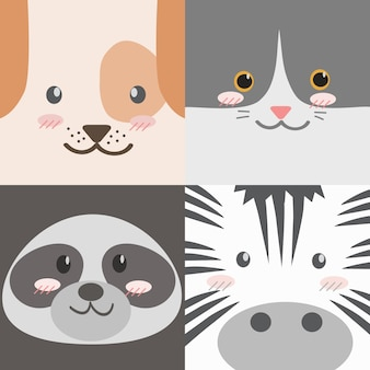 Raccolta di facce di animali simpatico cartone animato