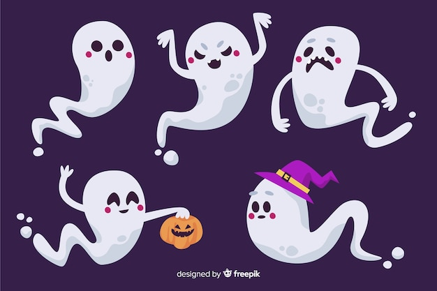 Raccolta di fantasmi di halloween su design piatto