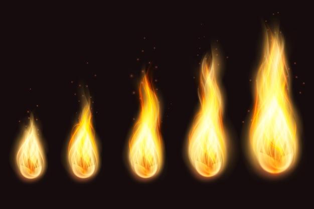 Raccolta di fiamme di fuoco realistiche