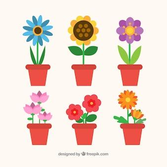 Raccolta di fiori colorati in stile piano