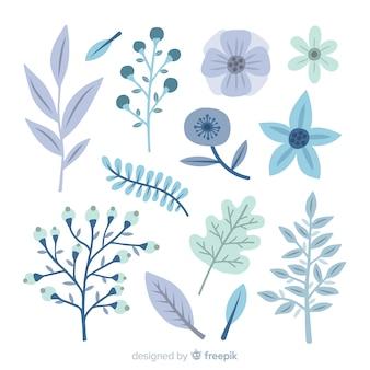 Raccolta di fiori invernali piatta
