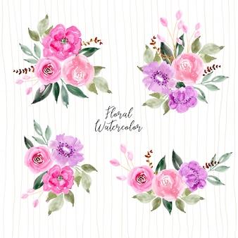 Raccolta di fiori rosa e viola dell'acquerello