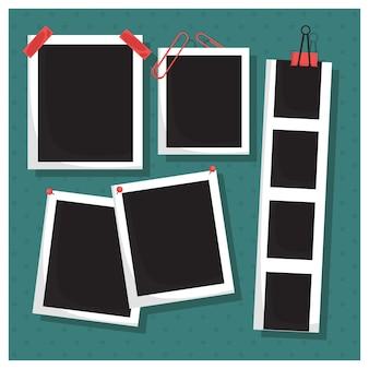 Raccolta di foto con clip e nastro adesivo
