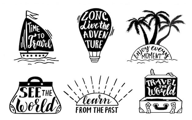 Raccolta di frasi scritte lettering di viaggio. lettere scritte a mano illustrazione vettoriale di etichetta
