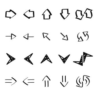 Raccolta di freccia doodles illustrazione