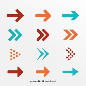 Raccolta di freccia in design piatto