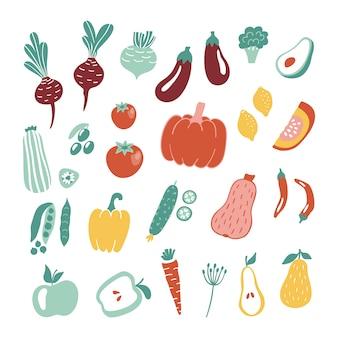 Raccolta di frutta e verdura disegnata a mano.