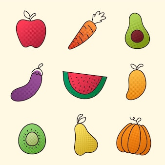 Raccolta di frutta e verdura