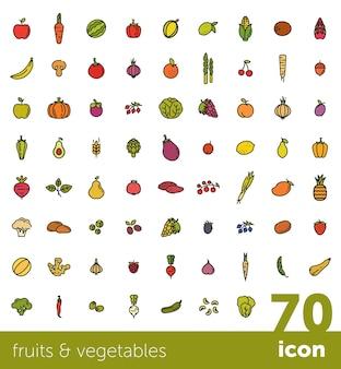 Raccolta di frutta e verdura.