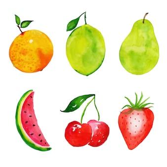 Raccolta di frutti ad acquerello