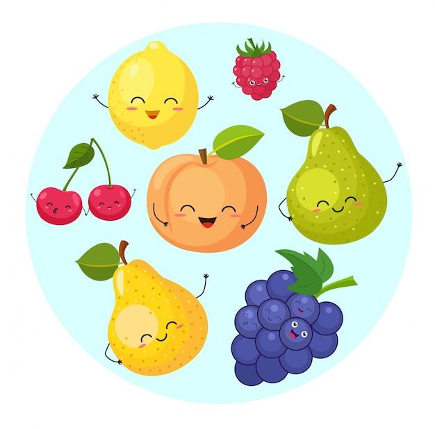 Raccolta di frutti divertenti dei cartoni animati. illustrazione.