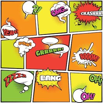 Raccolta di fumetti colorati e ovali colorati moderni su sfondo luminoso controllato