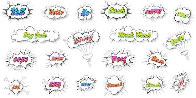 Raccolta di fumetti colorati suono chat effetti di testo stile pop art vettoriale. carattere 3d.