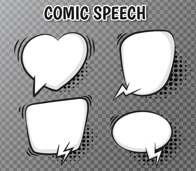 Raccolta di fumetti comici su trasparente