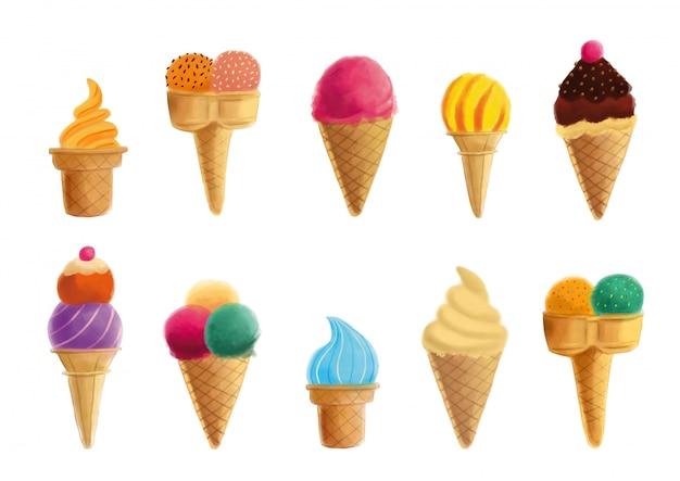 Raccolta di gelati isolato su uno sfondo bianco