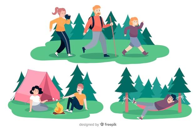 Raccolta di gente di campeggio illustrata