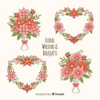 Raccolta di ghirlande e mazzi di fiori di san valentino