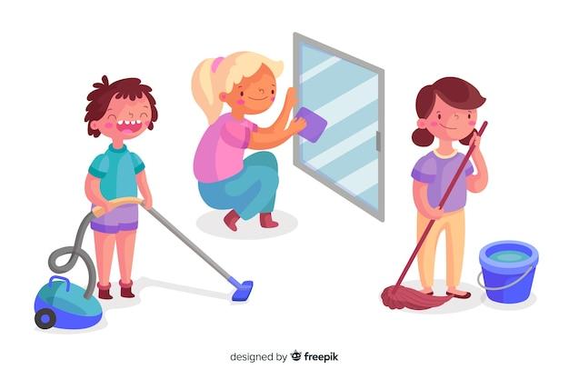 Raccolta di giovani che puliscono la casa illustrata