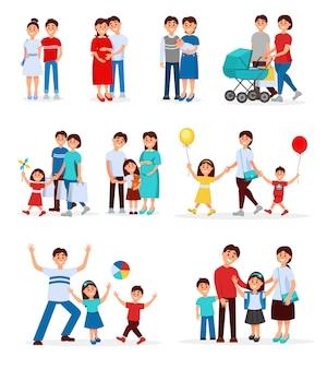 Raccolta di giovani famiglie. giovani coppie. la gente del fumetto aspetta bambino nato. gestante. concetto di genitorialità. ricreazione familiare. design piatto