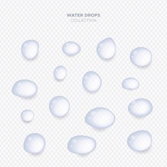 Raccolta di gocce di acqua trasparente realistico
